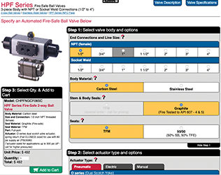 Actuated valve and meter configurators