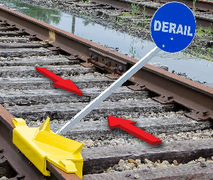 Portable derails for wood or concrete ties