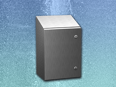 Sloped top Type 4x stainless steel wallmount enclosure meets hygienic requirements