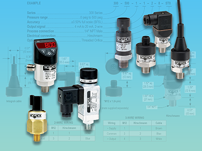 Pressure sensors available as switches and transducers
